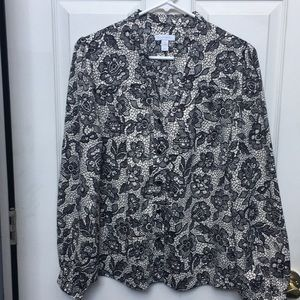 Charter Club Textured Blouse, 6, NWT
